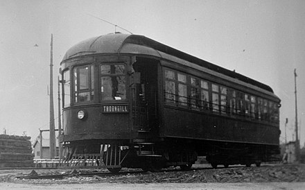 Radial car to Thornhill on the Metropolitan line Toronto and York Radial Railway vehicle, circa 1921.jpg