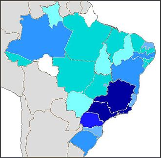 Immigration to Brazil - Total of foreign people authorized to work in Brazil by state in 2009.