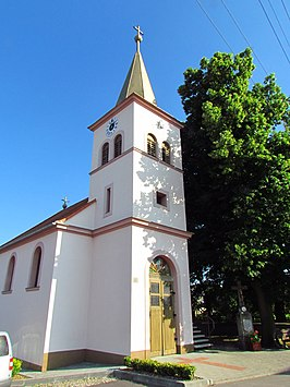 Tower of Church of Saint Peter and Paul in Přešovice, Třebíč District.JPG