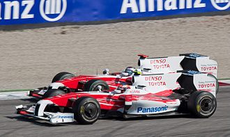 2009 Italian Grand Prix - The two Toyotas battling for track position.