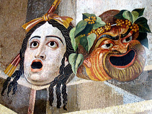 Tragicomedy - Tragic Comic masks of Ancient Greek theatre represented in the Hadrian's Villa mosaic.