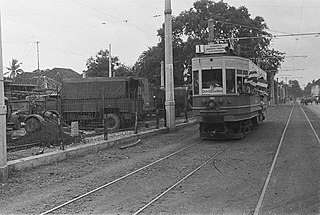 Electric Tram at Djatinegara, Batavia (present Jakarta) in 1942. The Batavia tramway served the city for almost a century until its closure in 1962. [182]