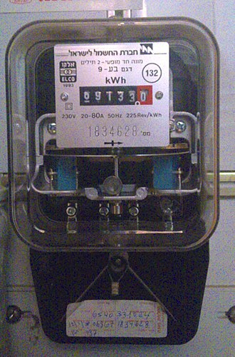 Electricity meter - Electricity meter with transparent plastic case (Israel)