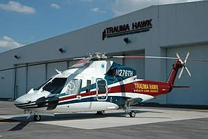 Palm Beach International Airport - Trauma Hawk 1 at its hangar at Palm Beach International Airport.