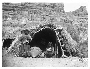 Havasupai - Two Havasupai Indian women in front of a native dwelling, Havasu Canyon, ca.1899