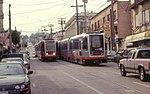 Two N Judah trains on 9th Avenue, March 2001.jpg