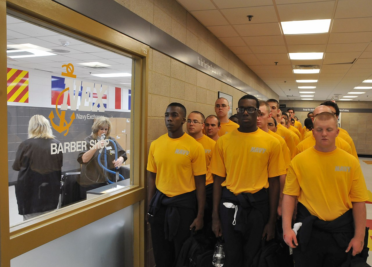 File:U.S. Navy recruits wait to receive their first ...