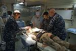 U.S. Sailors aboard the amphibious assault ship USS Bataan (LHD 5) participate in a mass casualty drill Oct. 26, 2013, in the Atlantic Ocean 131026-N-XJ695-101.jpg