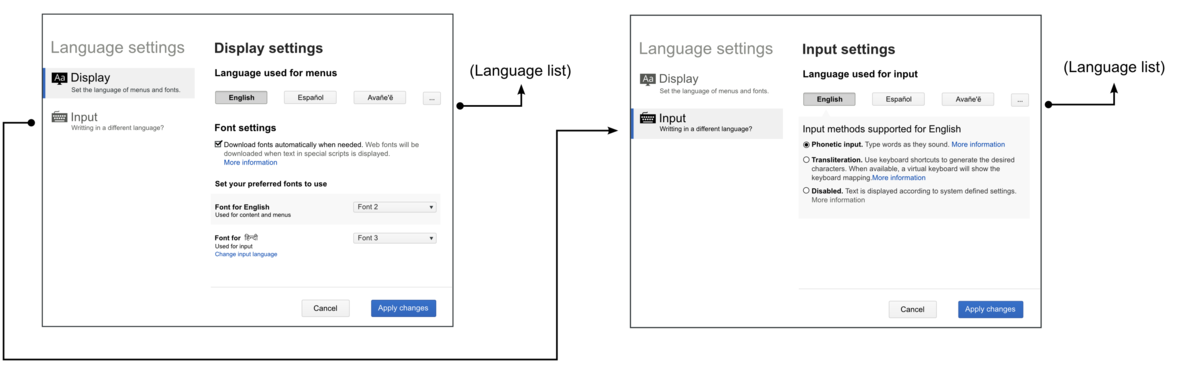 Wireframes that illustrate the setting views and the navigation between them.