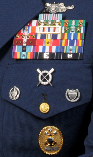 Badges of the United States Coast Guard - U.S. Coast Guard ribbons and badges as shown on the uniform of a former Master Chief Petty Officer of the Coast Guard