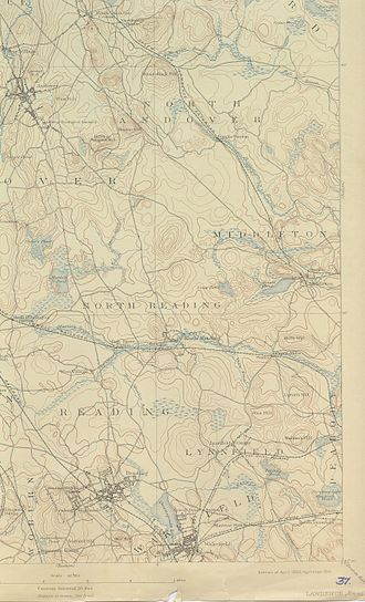 Ipswich River - This 1893 USGS topographical map shows the middle regions of the Ipswich River draining left to right, alongside which are the more noticeable railways of yesteryear.