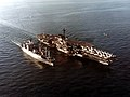 USS Coral Sea (CV-43) with ammunition ship in 1980.jpg