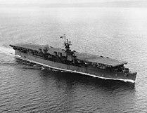 USS Princeton (CVL-23) underway in Puget Sound on 3 January 1944 (NH 95651).jpg