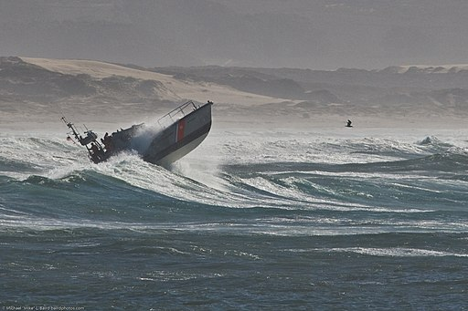 US Coast Guard 47' Motor Lifeboat performs storm exercises in wild surf at Morro Bay