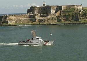 US Coast Guard Cutter Chincoteague (WPB-1320) passes Fort San Felipe del Morro