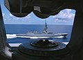 US Navy 050717-N-3436C-002 The Spanish Navy frigate Alvaro De Bazan (F 101) pulls alongside the Nimitz-class aircraft carrier USS Theodore Roosevelt (CVN 71) to observe flight operations.jpg