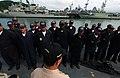 US Navy 050807-F-4883S-030 Ecuadorian Sailors assigned to the Ecuadorian Corvette BAE El Oro (CM 14), prepare for quarters while in port at Panama City, Panama, before beginning at sea exercises during PANAMAX 2005.jpg
