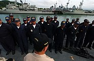US Navy 050807-F-4883S-030 Ecuadorian Sailors assigned to the Ecuadorian Corvette BAE El Oro (CM 14), prepare for quarters while in port at Panama City, Panama, before beginning at sea exercises during PANAMAX 2005