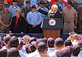 US Navy 060523-N-4021H-063 Vice President Dick Cheney addresses Sailors and Marines assigned to Expeditionary Strike Group One (ESG-1), on the flight deck aboard the amphibious assault ship USS Bonhomme Richard (LHD 6).jpg