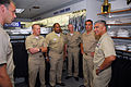 US Navy 070716-N-0962S-208 Master Chief Petty Officer of the Navy (MCPON) Joe R. Campa Jr. congratulates the four Sailors of the Year (SOYs) on their achievement during their visit to the Navy Exchange to get fitted for chief p.jpg