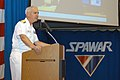 US Navy 070927-N-8878B-010 Commander of Space and Naval Warfare System Command (SPAWAR), Rear Adm. Michael C. Bachmann gives a speech about the history of the command during the 10th anniversary ceremony of SPAWAR.jpg