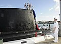 US Navy 101115-N-3560G-004 Capt. Daryl Caudle, commander of Submarine Squadron 3, welcomes the Virginia-class attack submarine USS North Carolina (.jpg
