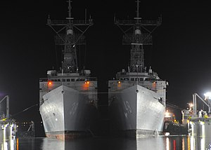 National Steel and Shipbuilding Company - The guided-missile frigates USS Vandegrift (FFG 48) and USS Curts (FFG 38) conduct a double dry-docking at NASSCO