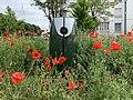 Une borne à incendie verte (puisage) à Saint-Maurice-de-Beynost, entourée d'herbes folles et de coquelicots (moins d'entretien des espaces verts au cours du confinement 2020).jpg
