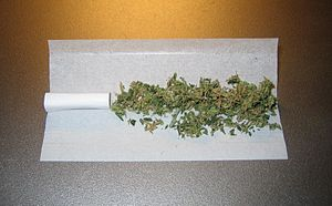 Joint (cannabis) - A joint prior to rolling with a paper filter at left