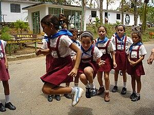 Red scarf - Uruguayan schoolchildren wearing blue scarves, 2006