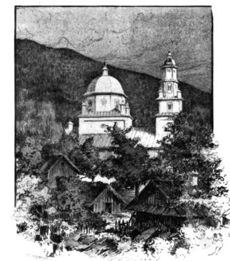 Slava Cercheză - Drawing of Uspenia Monastery in the early 20th century