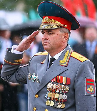 Ministry of Internal Affairs of Transnistria - Transnistrian President Vadim Krasnoselsky, who was minister of internal affairs from 2006-2012, during a parade in 2018.