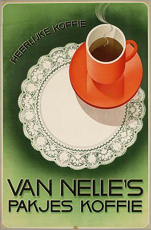 Nederlands: Affiche: Van Nelle's pakjes koffie...