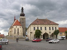 Velvary CZ Town Hall and St Catherine Church.JPG