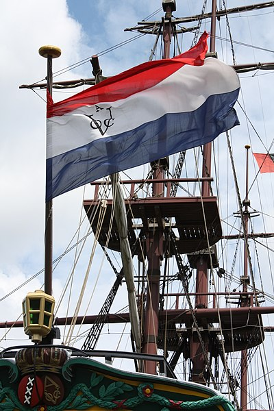 "Replica of an East Indiaman of the Dutch East India Company/United East India Company (also known by the abbreviation ""VOC"" in Dutch). The VOC was a major force behind the early European exploration and mapping of Australia and Oceania. Vereenigde Oostindische Compagnie spiegelretourschip Amsterdam replica.jpg"