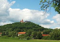 Paisaje de Veste Heldburg en el sur de Thüringen.