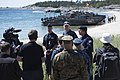 Vice Adm. and Rear Adm. speak with Swedish media in Utö, Sweden, during BALTOPS 2016, June 13. (27631445606).jpg