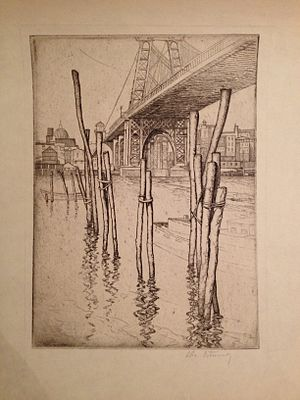 Abbo Ostrowsky - Image: View of the Williamsburg Bridge from Manhattan, Abbo Ostrowsky