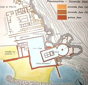Sperlonga sculptures - Plan of the villa and grotto