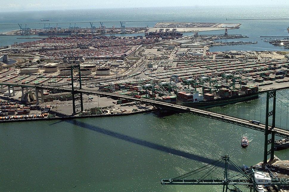 Vincent Thomas Bridge aerial view