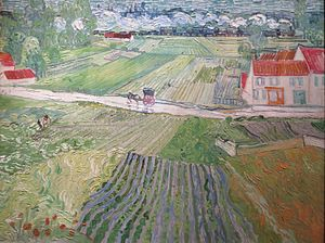 1890 in art - van Gogh's Landscape with a Carriage and a Train, painted in June 1890 (Pushkin Museum, Moscow (F760, JH2019))