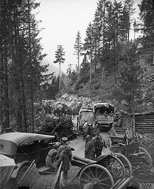 1918 in Italy - British and Italian troops passing abandoned Austro-Hungarian artillery on the Val d'Assa mountain road 2 November 1918