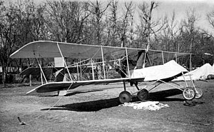 Voisin scout biplane tethered to the ground (8694217214) cropped.jpg