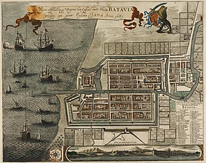 Battles of La Naval de Manila - Drawing of Batavia (now Jakarta) in the 17th century.