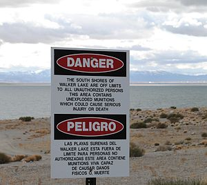 Hawthorne Army Depot - Warning of unexploded munitions from Hawthorne Army Depot in Walker Lake