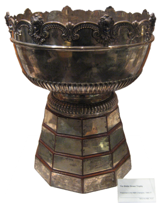 Larry O'Brien Championship Trophy - The original Walter A. Brown Trophy displayed at the Naismith Memorial Basketball Hall of Fame
