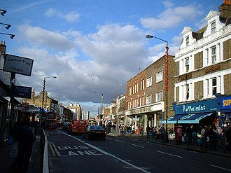 A215 road - Walworth Road on a Saturday afternoon