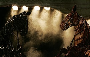 War Horse (play) - Topthorn and Joey, life-size puppet horses, at a production of the play in Australia