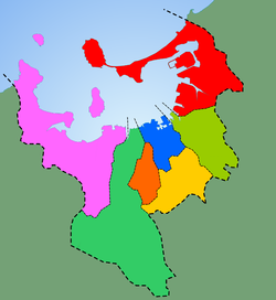 The city of Fukuoka encircling Hakata Bay (light blue). The colored areas represent the different wards of the city. Wards of Fukuoka City Japan.png