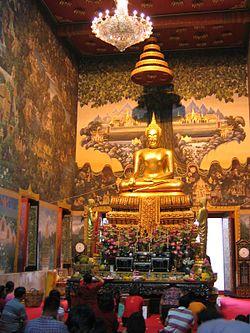 Luang Por Wat Rai Khing, principle Buddha image of Wat Rai Khing, Tambon Rai, Sam Phran District, next to Nakhon Chai Si River (Tha Chin River).